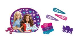 Barbie Haarschmuck-Set, 10-tlg, mit 3 x Haarspangen, 6 x Haarbändern,sowie Schmuck- tasche mit Barbieanhänger