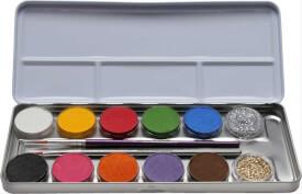 10 Farben 2 Glitzer Metall-Palette