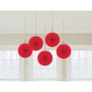 5 Papier-Dekofächer rot 15,2 cm