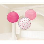 3 Lampions rosa, pink, gepunktet 24 cm