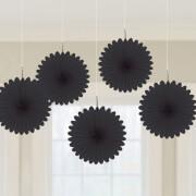 5 Papier-Dekofächer schwarz 15,2 cm