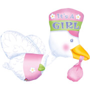 Multi-Ballon It's a Girl Storch Folienballon P75 verpackt
