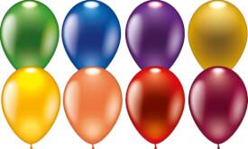 Ballons, rund metallic, 8 Stück, Durchm.: 30 cm