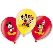 6 Latexballons Micky 4-farbig 27,5 cm/11''