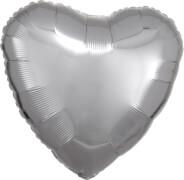 Standard Silber Metallic Folienballon Herz, S15, verpackt, 43cm
