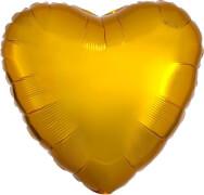 Standard Gold Metallic Folienballon Herz, S15, verpackt, 43cm