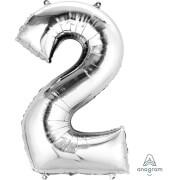 SuperShape 2 silber Folienballon P50 verpackt 50 x 88 cm