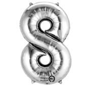 SuperShape 8 silber Folienballon P50 verpackt 53 x 83 cm