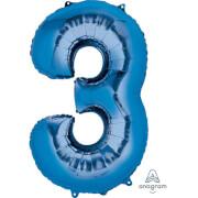 SuperShape 3 blau Folienballon P50 verpackt 53 x 88 cm