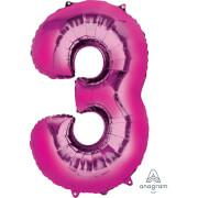 SuperShape 3 pink Folienballon P50 verpackt 53 x 88 cm