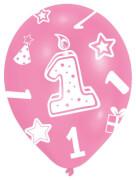 6 Latexballons Globaldruck 1 rosa 27,5 cm/11''
