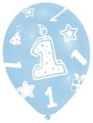 6 Latexballons Globaldruck 1 blau 27,5 cm/11''