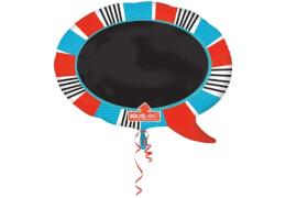 SuperShape Gedankenblase mit Tafel blau-rot Folienballon P50 verpackt 71 x 55 cm