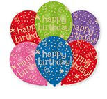 6 Latexballons Happy Birthday - Global 27,5 cm/11