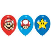 6 Latexballons Super Mario Bros 27,5 cm/11