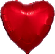 Standard Rot Metallic Folienballon Herz, S15, verpackt, 43cm