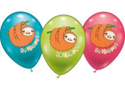 Ballons Be happy Faultier, 6 Stück, Durchm.: 30 cm