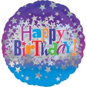 Standard Happy Birthday Bright Stars Folienballon rund, S55, verpackt, 43 cm