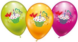 Ballons rund Cupcake 6 Stück, Umfang 90-100cm