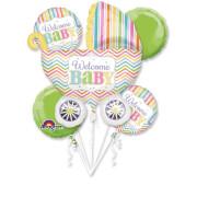 Bouquet Baby Brights 5 Folienballons, P75, verpackt