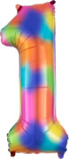 SuperShape 1 Rainbow Splash Folienballon L34 Verpackt 33 x 85 cm