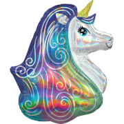 Holographic SuperShape Iridescent Rainbow Unicorn Folienballon P40 verpackt 66cm x 76cm