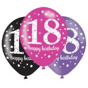 6 Latexballons 18 Jahre Pink Celebration 27,5cm/11