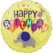 Standard Elefant Geburtstag Folienballon S40 verpackt