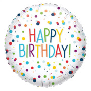 Standard EU Confetti Birthday Folienballon rund S40 verpackt