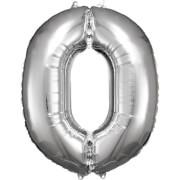 Grosse Zahl 0 Silber Folienballon N34 66 cm x 88 cm