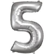 Grosse Zahl 5 Silber Folienballon N34 58 cm x 86 cm