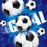 Servietten Fußball blau, 20 Stück, 33 x 33 cm
