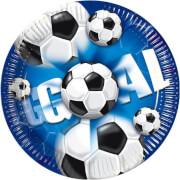 Teller Fußball, blau, 10 Stück, 23 cm