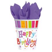8 Becher Radiant Birthday 266 ml