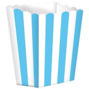 5 Pappschachteln Stripes azurblau 9,5 x 13,5 cm