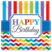 8 Teller Bright Birthday viereckig 17,7 x 17,7 cm
