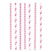 Trinkhalme Papier rosa 24 Stück 19,5 cm