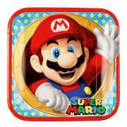 8 Teller Super Mario, viereckig 23 x 23 cm