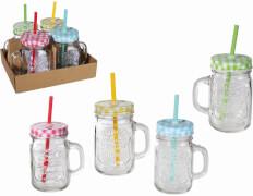 Trinkglas mit Henkel, Deckel & Strohhalm neu
