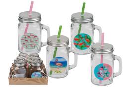 Trinkglas, Flamingo, Einmachglas mit Henkel, Metallschraubverschluss & Kunststof