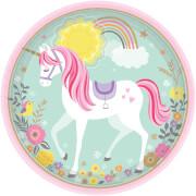 8 Teller Magical Unicorn rund 23 cm Papier