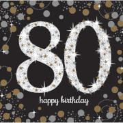 16 Servietten Sparkling Celebration 80 Jahre