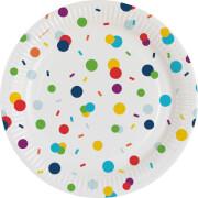 8 Teller Confetti Birthday Papier rund 17,7 cm