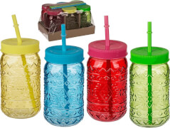 Trinkglas,Tiki Style, Einmachglas mit Kunststoffschraubverschluss & Kunststoff-Trinkhalm, für ca. 470 ml
