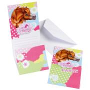 6 Einladungskarten Charming Horses 2 mit Umschlägen