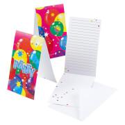 6 Einladungskarten Ballon Party 2 mit Umschlägen