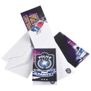 8 Einladungskarten Polizei mit Umschlägen