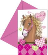 Horses Einladungskarten & Umschlag 6 Stück