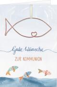 Grußkarte - Gute Wünsche zur Kommunion, mit Drahtanhänger Fisch