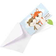 8 Einladungskarten mit Umschlägen Fuchs & Biber